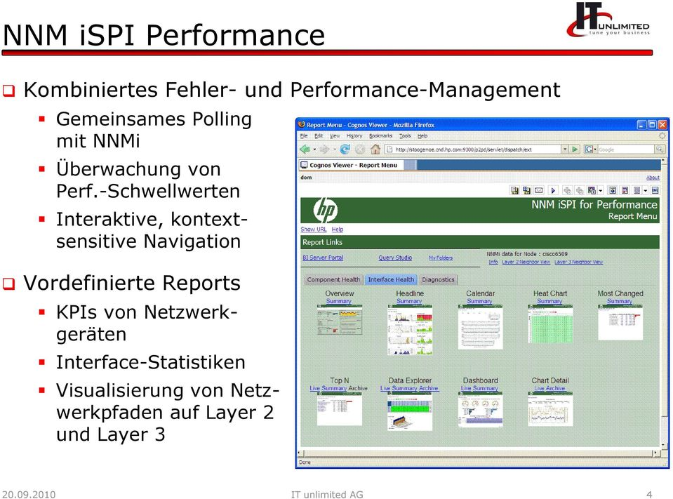 -Schwellwerten Interaktive, kontext- sensitive Navigation Vordefinierte Reports