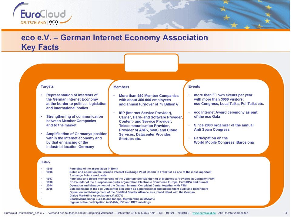 communication between Member Companies and to the market Amplification of Germanys position within the Internet economy and by that enhancing of the industrial location Germany Members More than 450