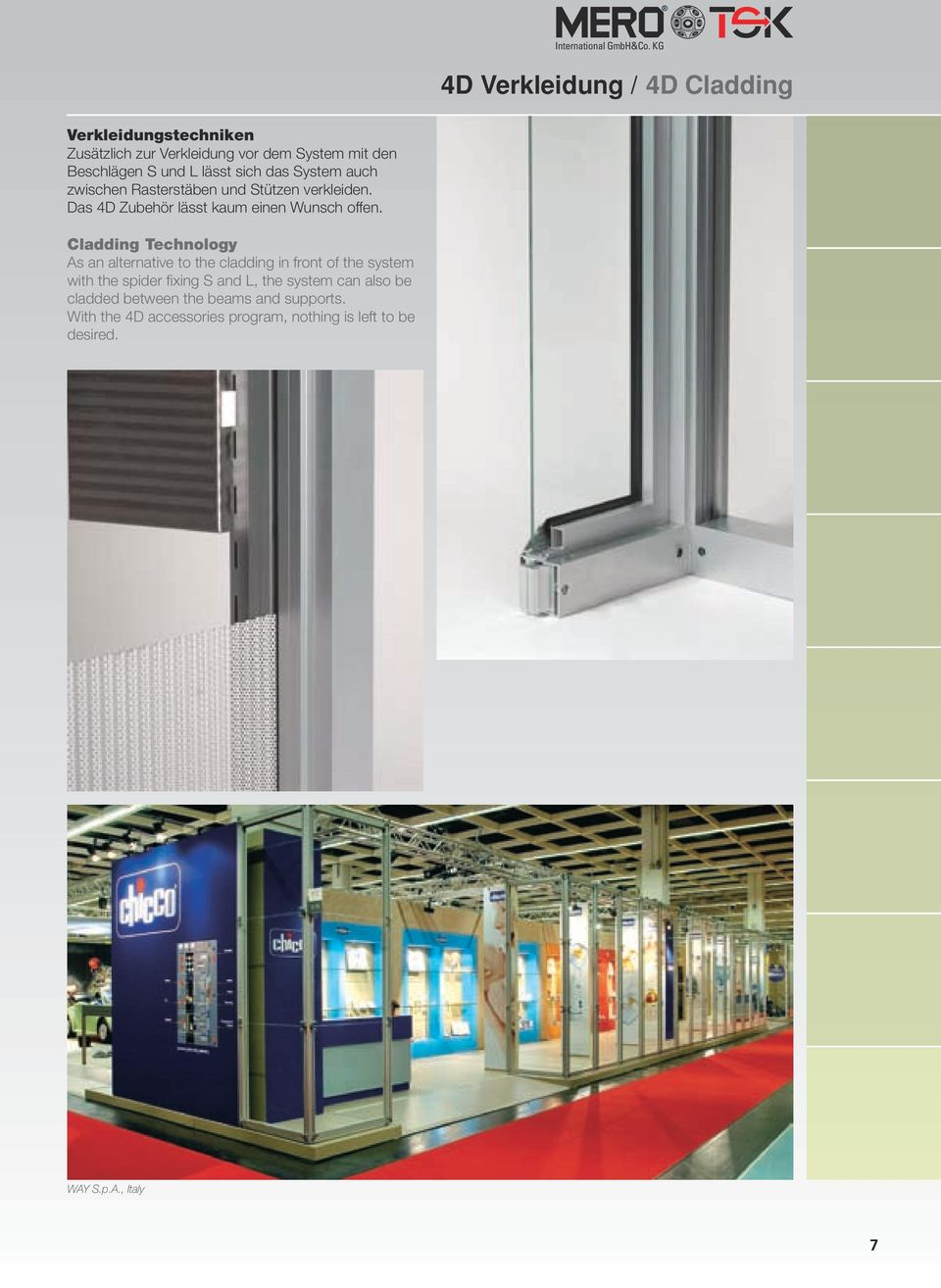 Cladding Technology As an alternative to the cladding in front of the system with the spider fixing S and L, the system