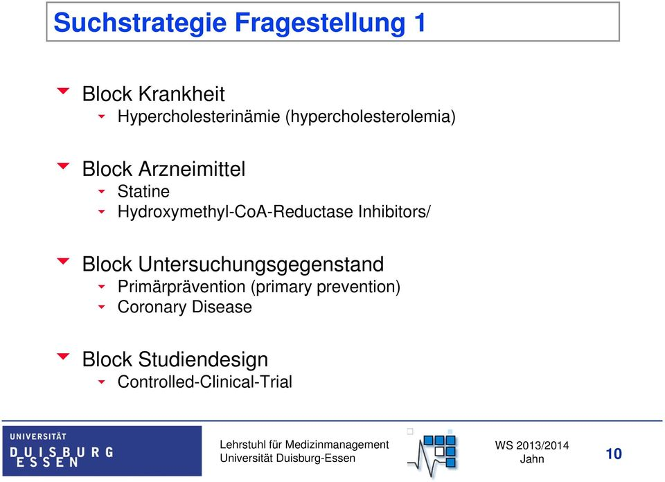 Hydroxymethyl-CoA-Reductase Inhibitors/ Block Untersuchungsgegenstand