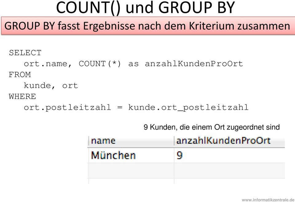 name, COUNT(*) as anzahlkundenproort kunde, ort WHERE