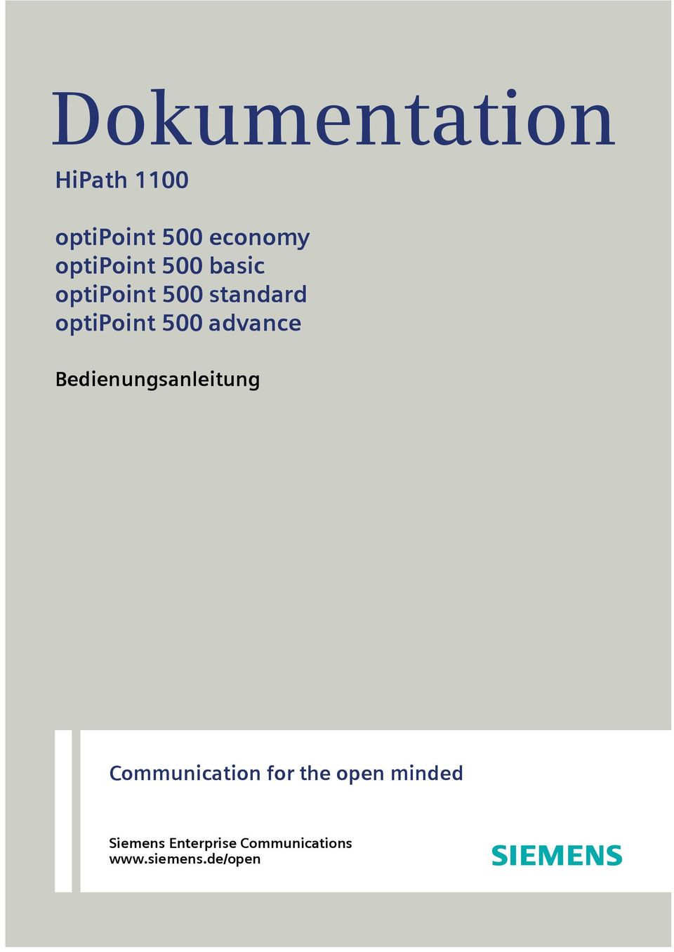 500 advance Bedienungsanleitung Communication for the