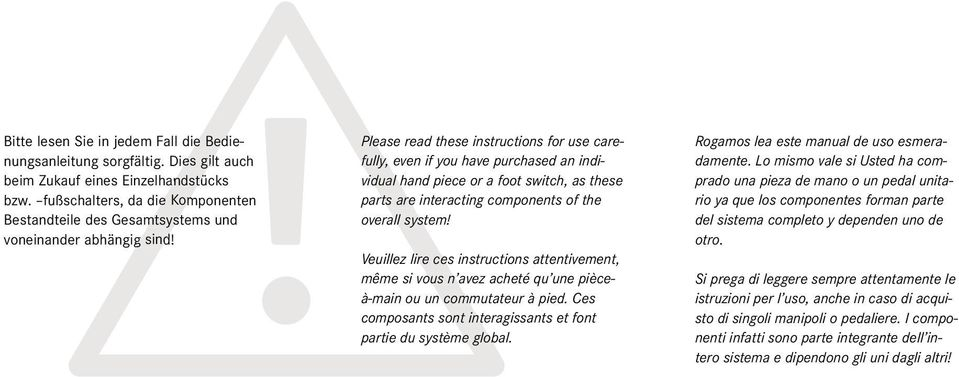 Please read these instructions for use care- fully, even if you have purchased an individual hand piece or a foot switch, as these parts are interacting components of the overall system!