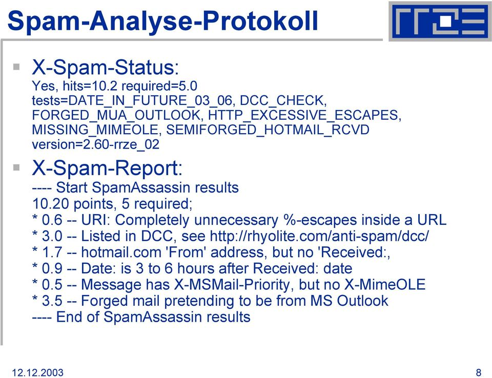 60-rrze_02 X-Spam-Report: ---- Start SpamAssassin results 10.20 points, 5 required; * 0.6 -- URI: Completely unnecessary %-escapes inside a URL * 3.