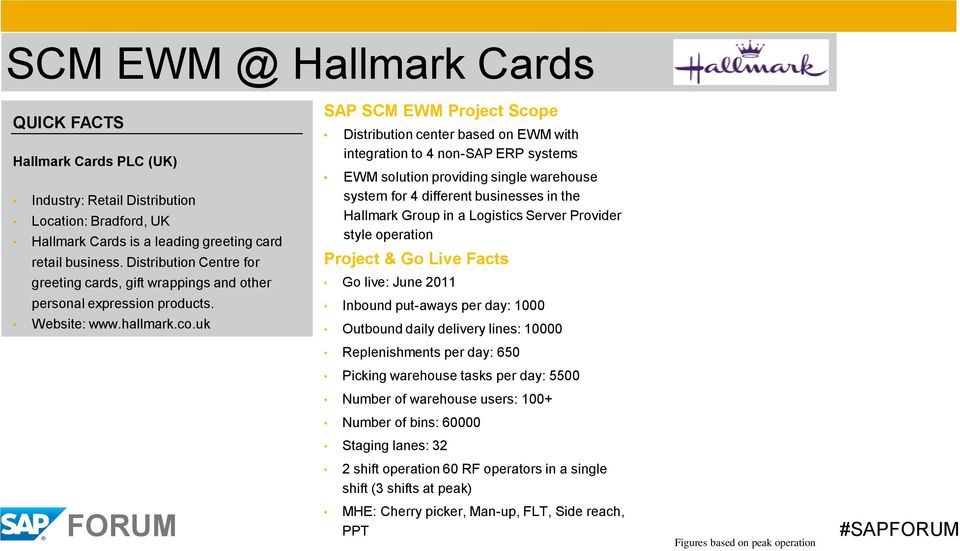 warehouse system for 4 different businesses in the Hallmark Group in a Logistics Server Provider style operation Project & Go Live Facts Go live: June 2011 personal expression products. Website: www.