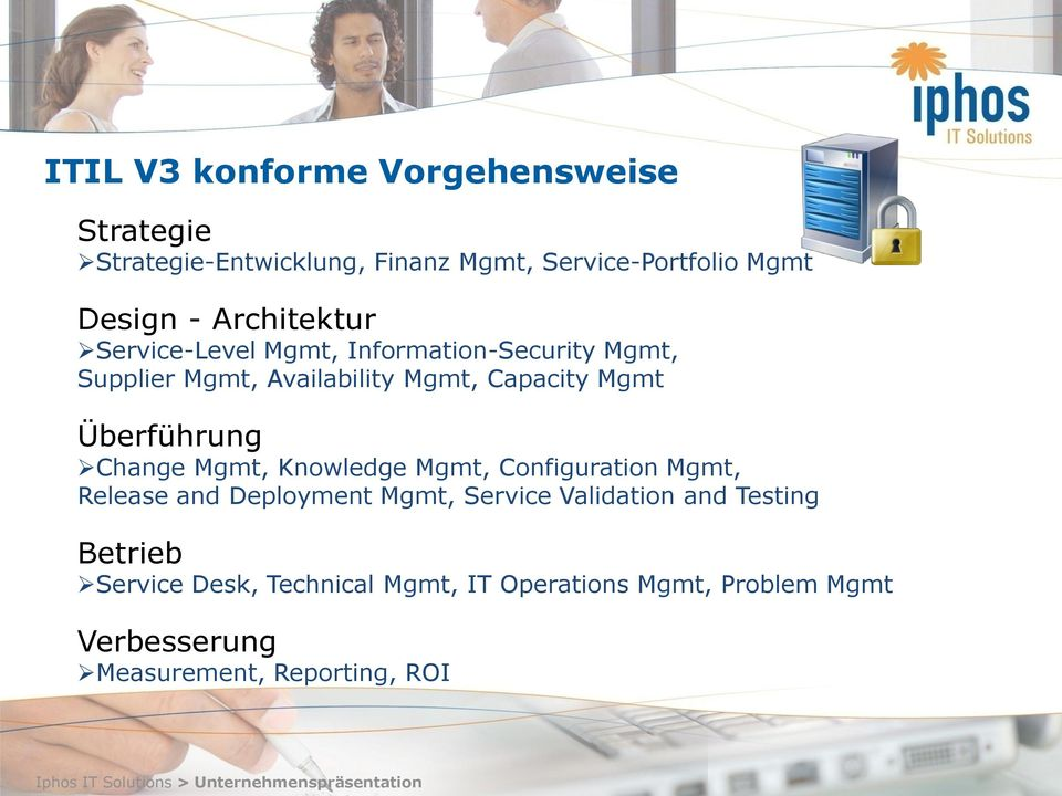 Überführung Change Mgmt, Knowledge Mgmt, Configuration Mgmt, Release and Deployment Mgmt, Service Validation and