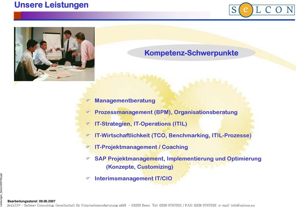 (TCO, Benchmarking, ITIL-Prozesse) IT-Projektmanagement / Coaching SAP