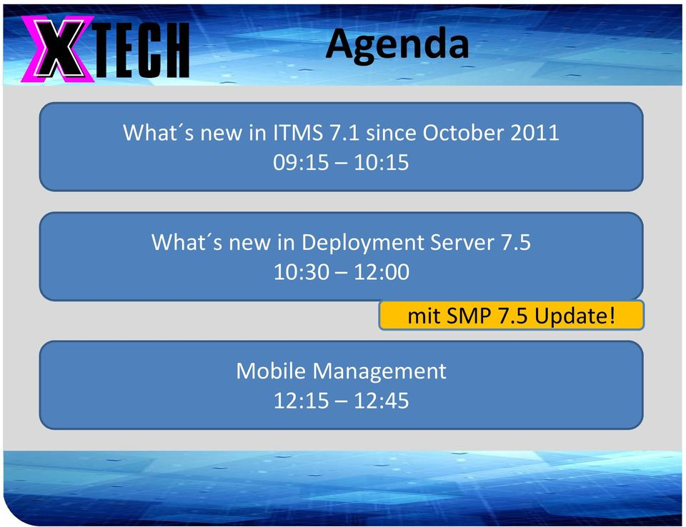 1 sinceoctober2011 09:15 10:15 What s new in