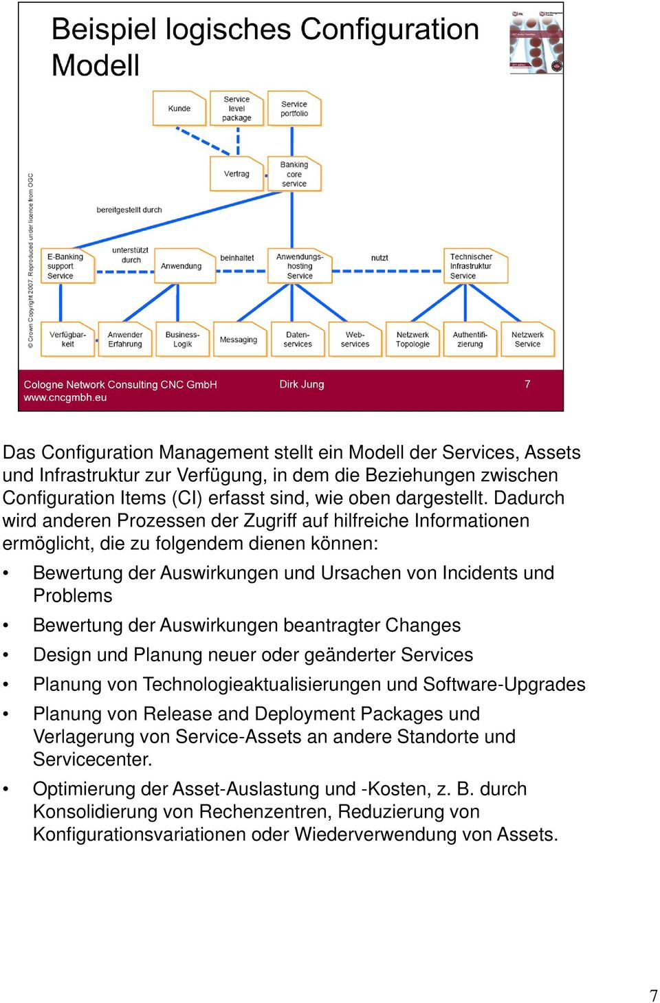Auswirkungen beantragter Changes Design und Planung neuer oder geänderter Services Planung von Technologieaktualisierungen und Software-Upgrades Planung von Release and Deployment Packages und