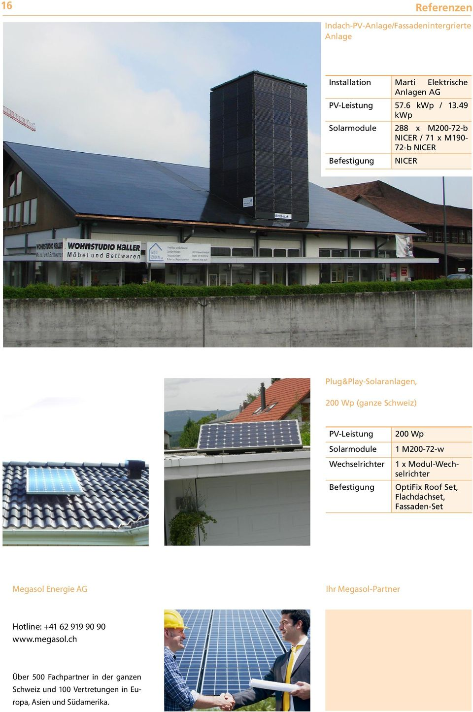 Modul- OptiFix Roof Set, Flachdachset, Fassaden-Set Megasol Energie AG Ihr Megasol-Partner Hotline: +41 62