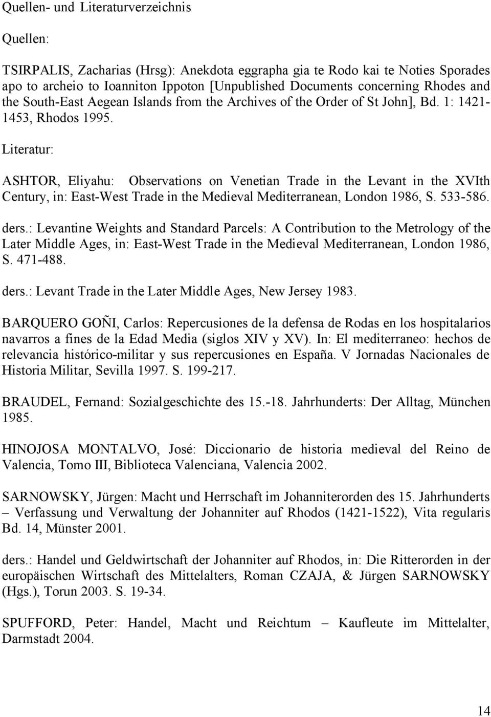 Literatur: ASHTOR, Eliyahu: Observations on Venetian Trade in the Levant in the XVIth Century, in: East-West Trade in the Medieval Mediterranean, London 1986, S. 533-586. ders.