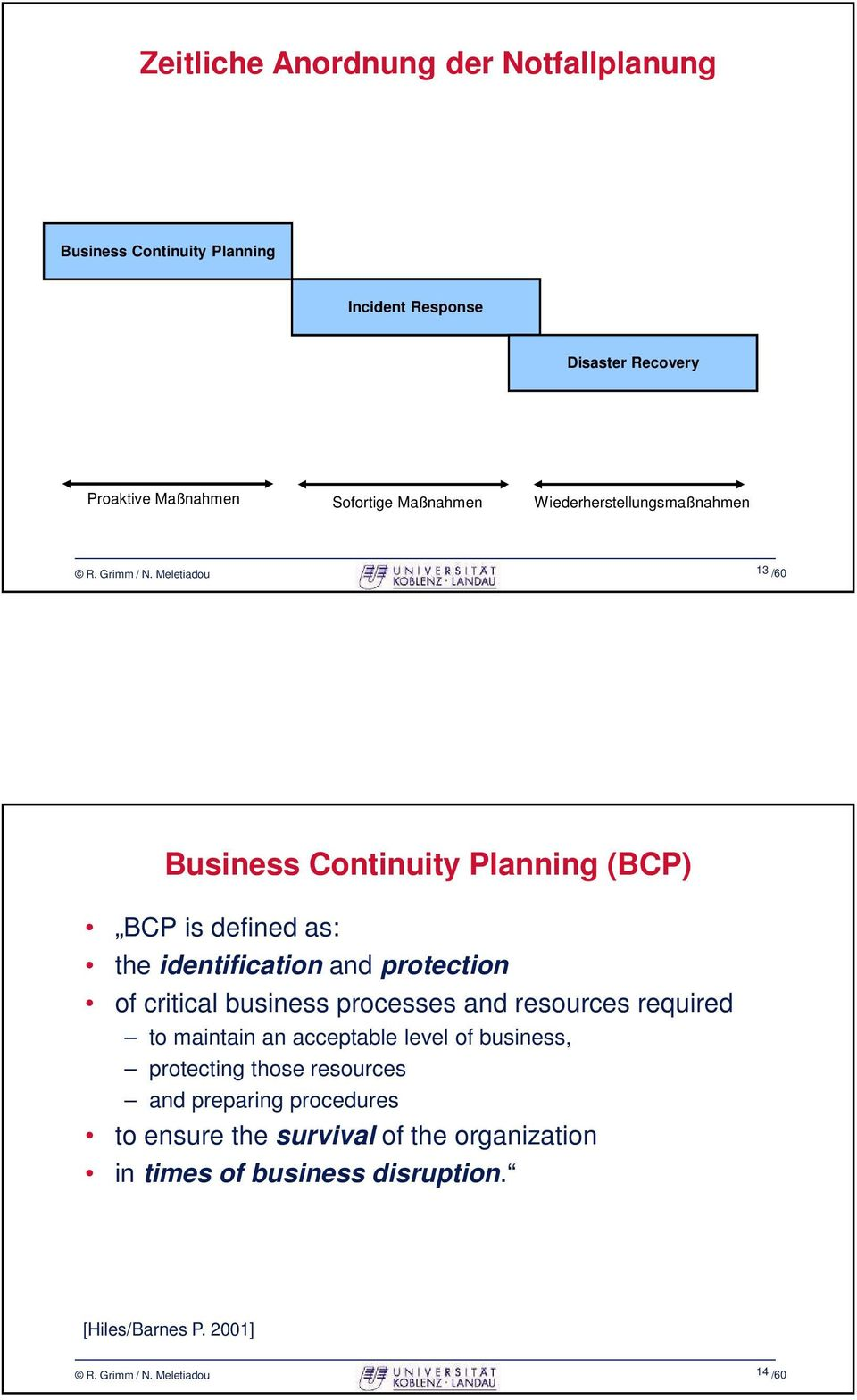 Meletiadou 13 /60 Business Continuity Planning (BCP) BCP is defined as: the identification and protection of critical business processes and
