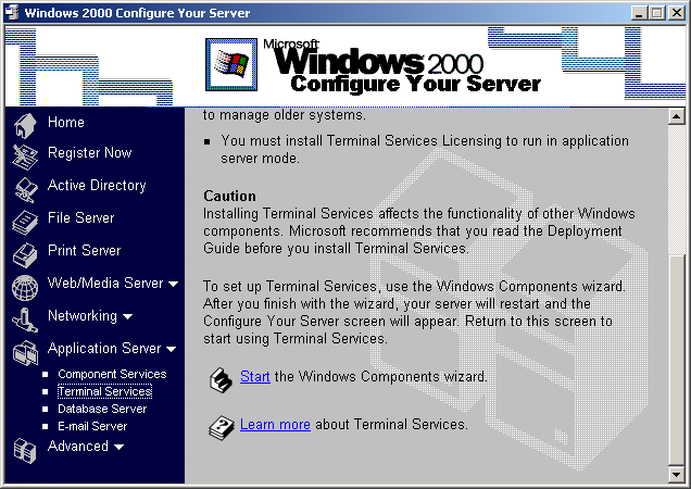 ANHANG B. WINDOWS 2000 ADVANCED SERVER Im Bereich der Applikationsserver bzw.