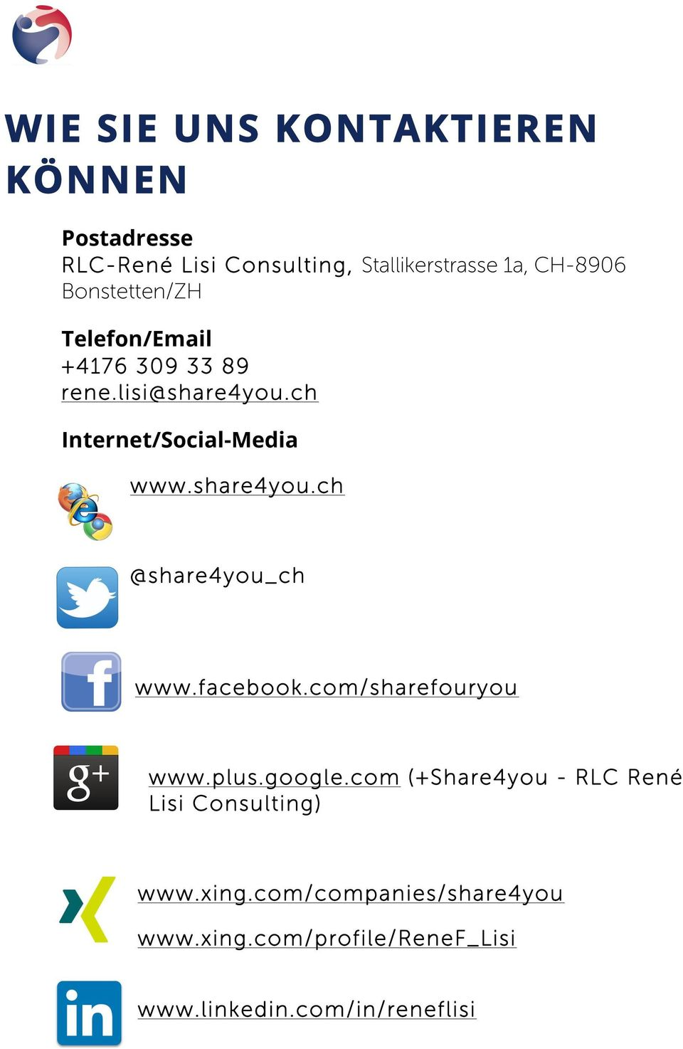 share4you.ch @share4you_ch www.facebook.com/sharefouryou www.plus.google.