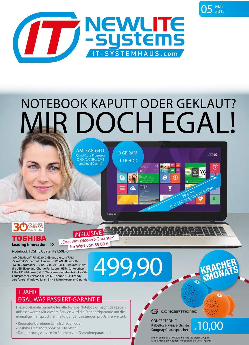 Satellite L50D-B AMD Radeon R5 M230, 2 GB dedizierter VRAM Slim DVD-Supermulti Laufwerk WLAN Bluetooth Multi-Cardreader 1x USB 2.0 2x USB 3.