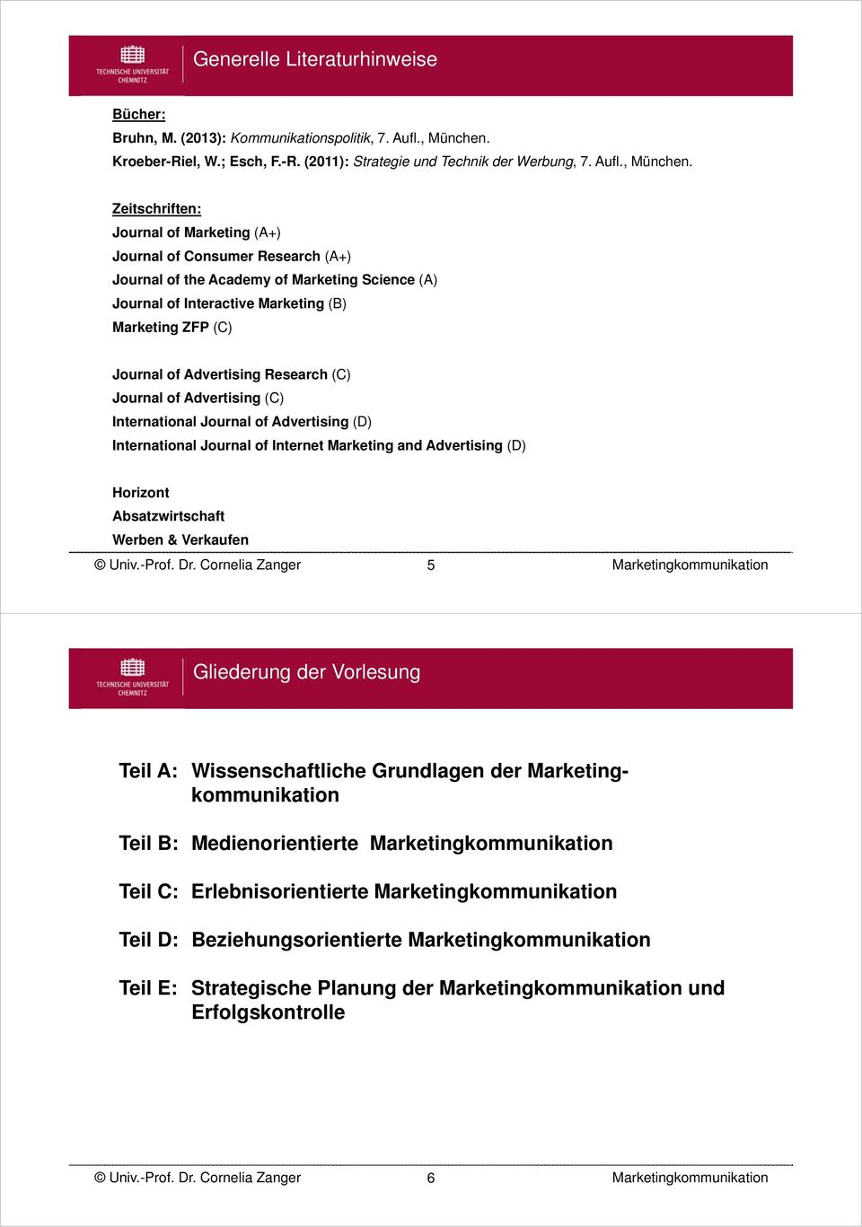 Zeitschriften: Journal of Marketing (A+) Journal of Consumer Research (A+) Journal of the Academy of Marketing Science (A) Journal of Interactive Marketing (B) Marketing ZFP (C) Journal of