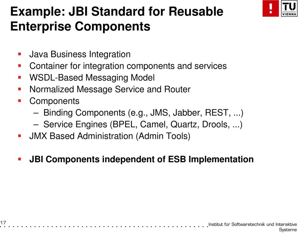 Router Components Binding Components (e.g., JMS, Jabber, REST,.