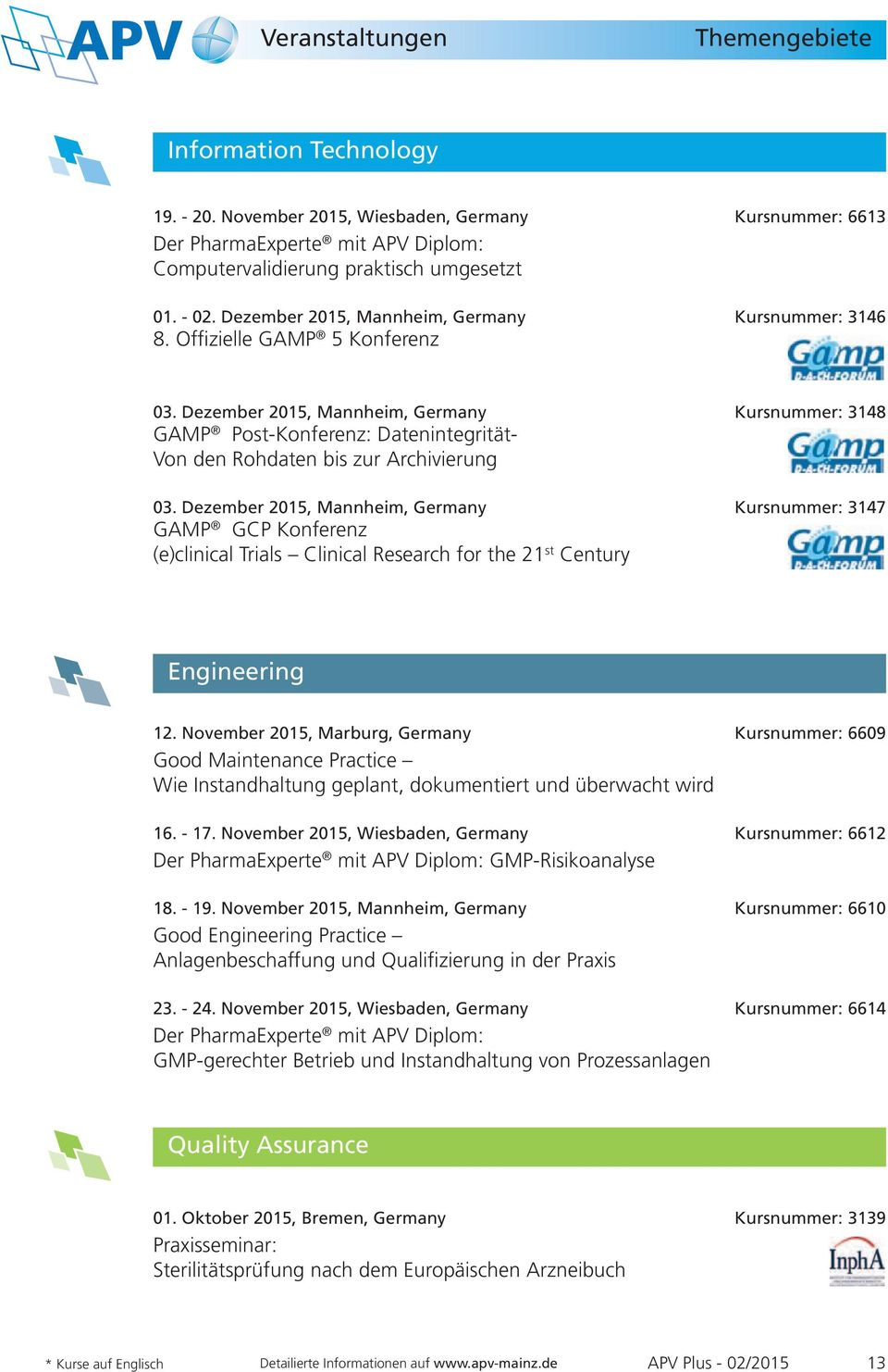 Dezember 2015, Mannheim, Germany Kursnummer: 3147 GAMP GCP Konferenz (e)clinical Trials Clinical Research for the 21 st Century Engineering 12.