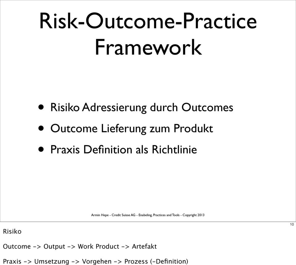 Richtlinie Risiko 10 Outcome -> Output -> Work Product ->