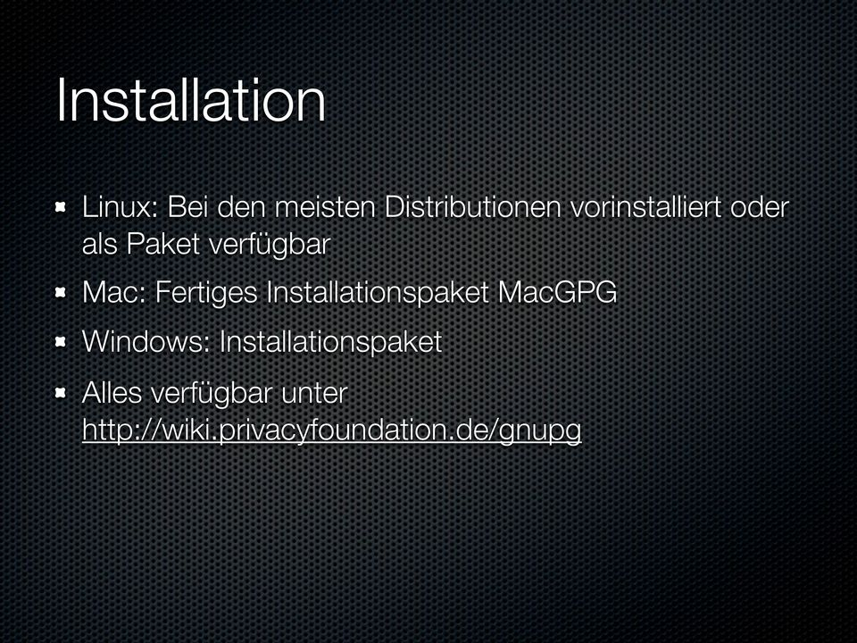 Installationspaket MacGPG Windows: Installationspaket
