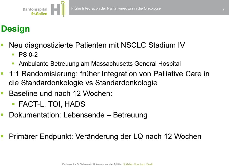 Integration von Palliative Care in die Standardonkologie vs Standardonkologie Baseline und nach 12