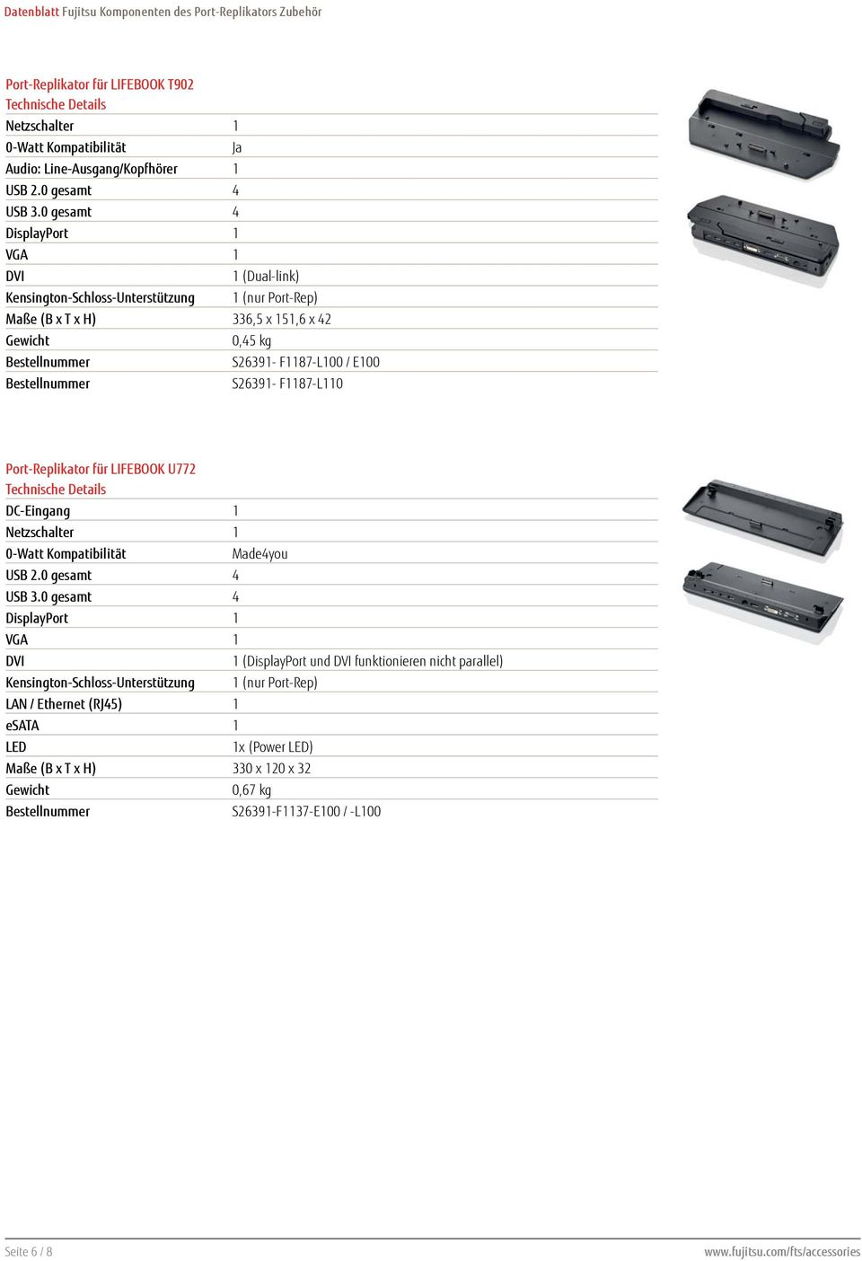 0,45 kg S26391- F1187-L100 / E100 S26391- F1187-L110 Port-Replikator für LIFEBOOK U772 Made4you USB 3.