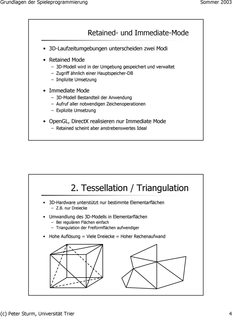 nur Immediate Mode Retained scheint aber anstrebenswertes Ideal 2. Tessellation / Triangulation 3D-Hardware unterstützt nur bestimmte Elementarflächen Z.B.