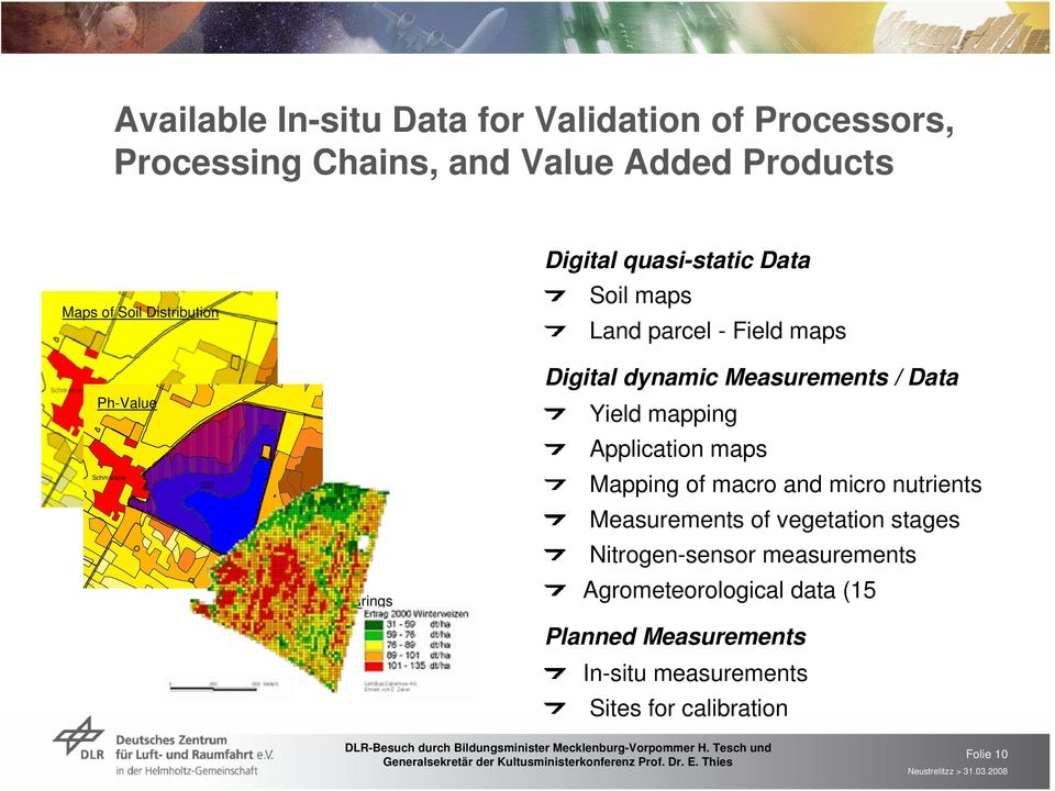 Measurements / Data Yield mapping Application maps Mapping of macro and micro nutrients Measurements of vegetation stages