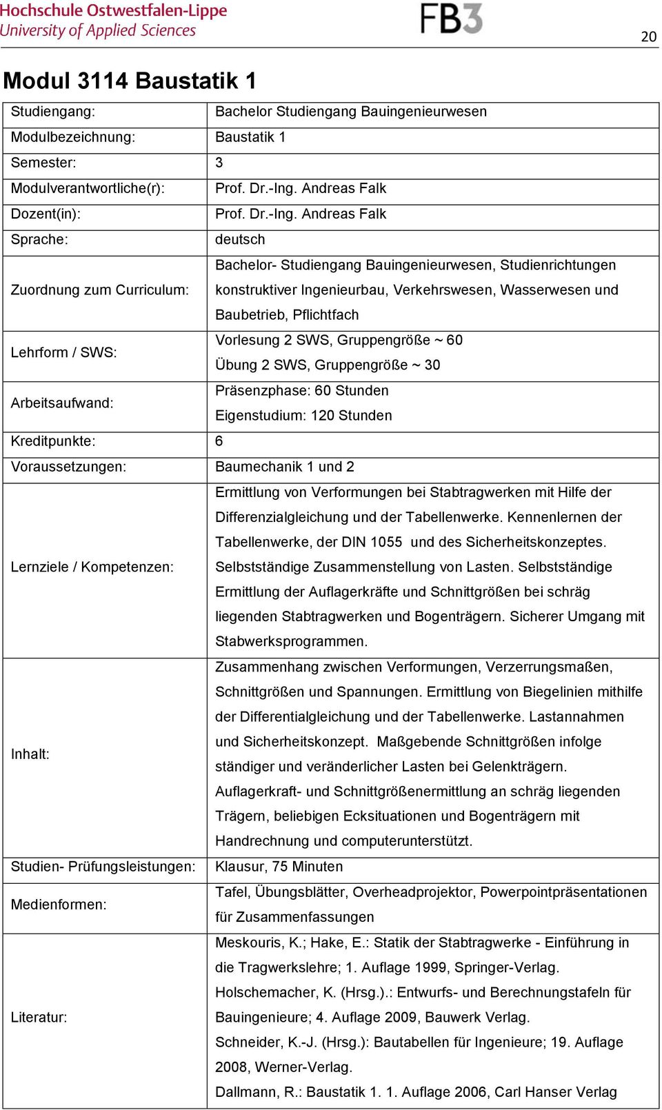 Modulhandbuch f r die bachelorstudieng nge for Tragwerkslehre pdf