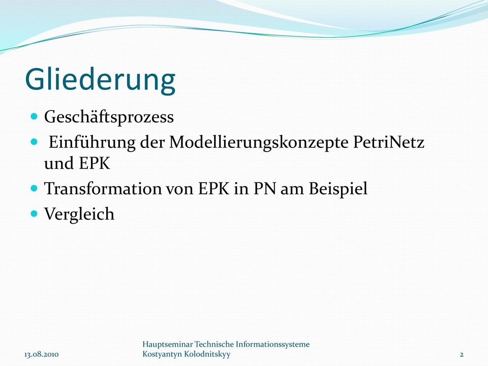 EPK Transformation von EPK in PN am
