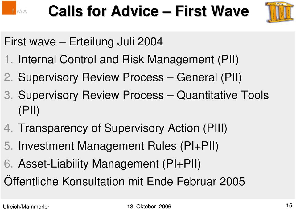 Supervisory Review Process Quantitative Tools (PII) 4. Transparency of Supervisory Action (PIII) 5.
