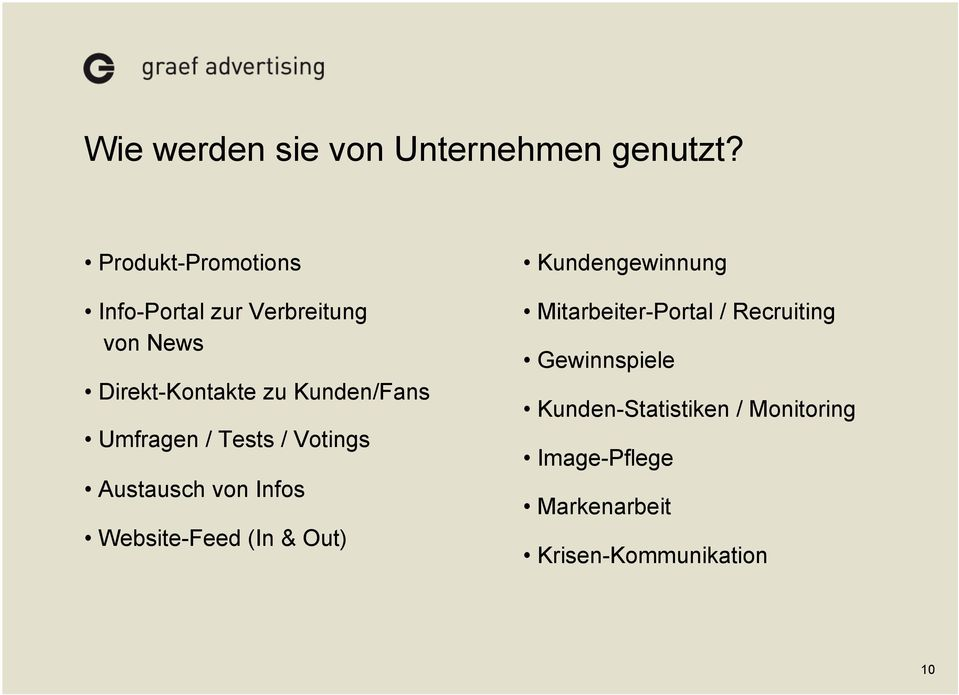 Kunden/Fans Umfragen / Tests / Votings Austausch von Infos Website-Feed (In & Out)