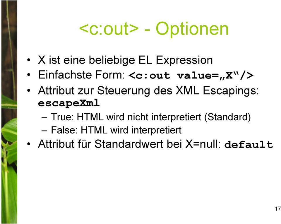 escapexml True: HTML wird nicht interpretiert (Standard) False: