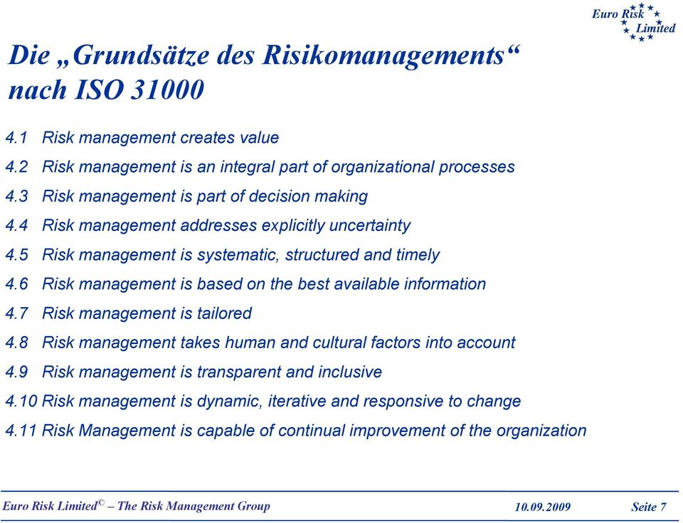 6 Risk management is based on the best available information 4.7 Risk management is tailored 4.8 Risk management takes human and cultural factors into account 4.