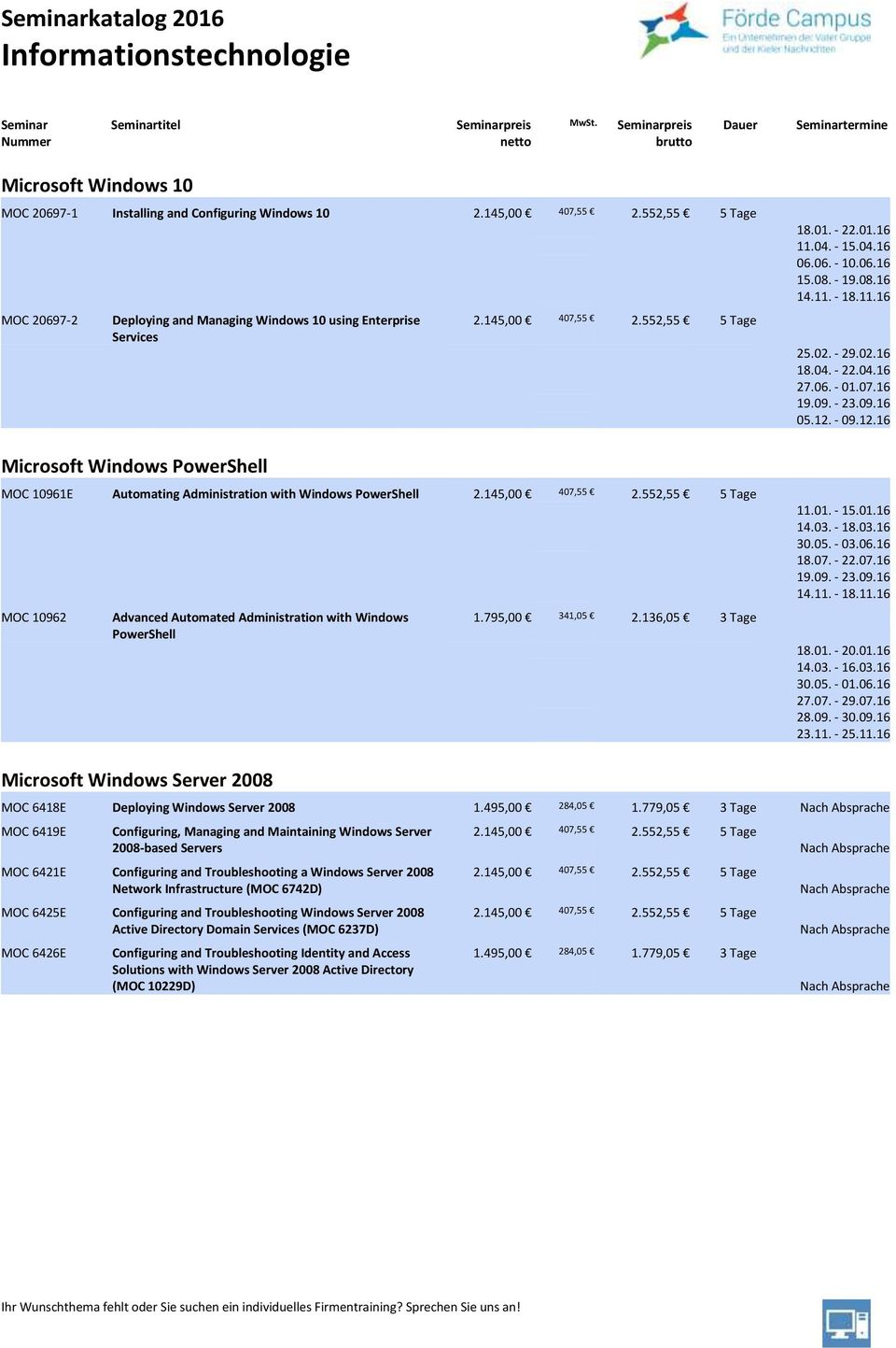 552,55 5 Tage MOC 10961E Automating Administration with Windows PowerShell 2.145,00 407,55 2.552,55 5 Tage MOC 10962 Advanced Automated Administration with Windows PowerShell 1.795,00 341,05 2.