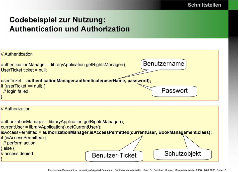 authenticate(username, password); if (userticket == null) { // login failed } Passwort // authorizationmanager = libraryapplication.getrightsmanager(); currentuser = libraryapplication().