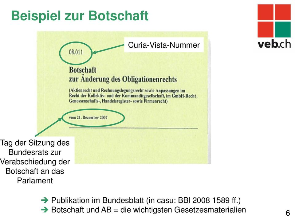 Parlament Publikation im Bundesblatt (in casu: BBl 2008