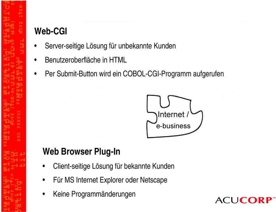 Internet / e-business Web Browser Plug-In Client-seitige Lösung für