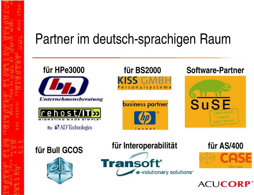 Software-Partner für Bull GCOS