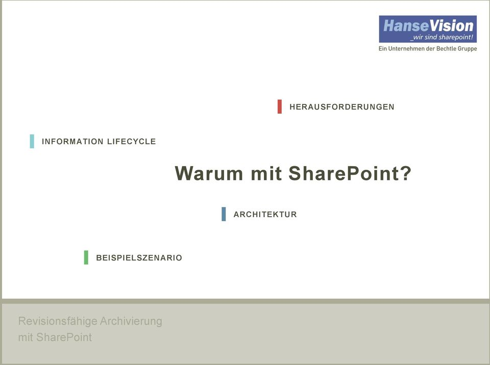 INFORMATION LIFECYCLE Warum mit SharePoint?