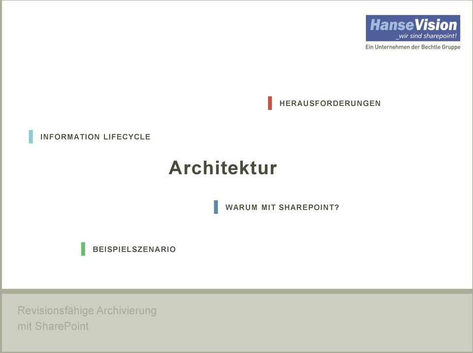 INFORMATION LIFECYCLE Architektur WARUM MIT