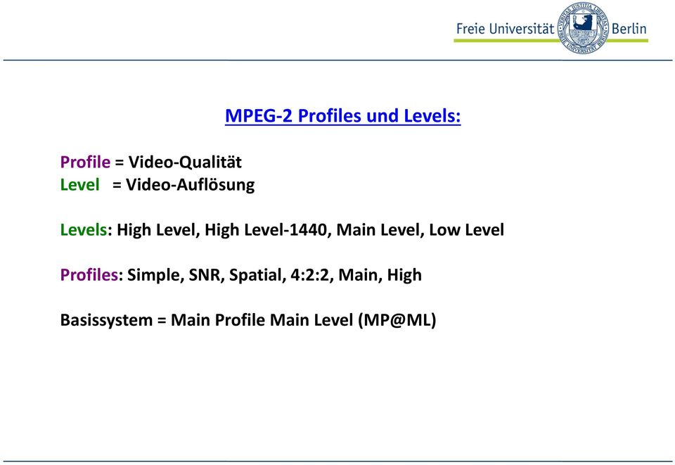 Main Level, Low Level Profiles: Simple, SNR, Spatial,