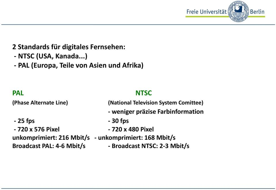 Television System Comittee) - weniger präzise Farbinformation -25 fps -30 fps -720 x 576
