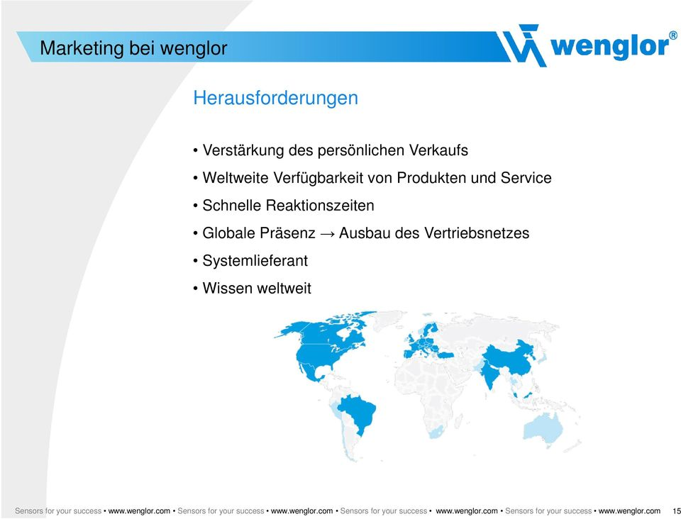 Systemlieferant Wissen weltweit Sensors for your success www.wenglor.