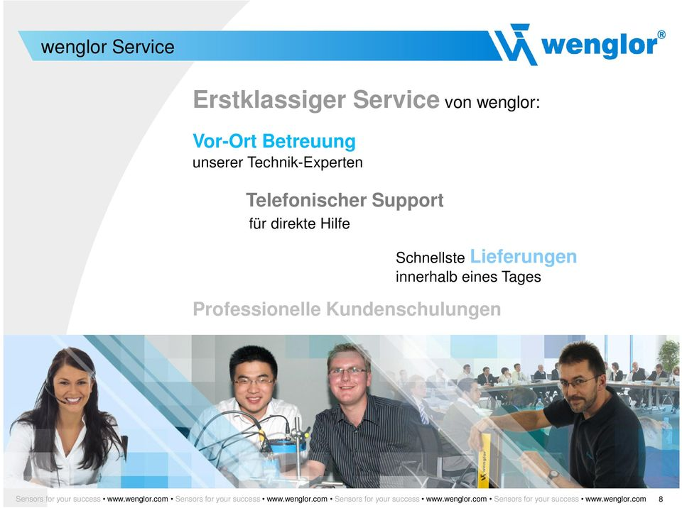 Professionelle Kundenschulungen Sensors for your success www.wenglor.