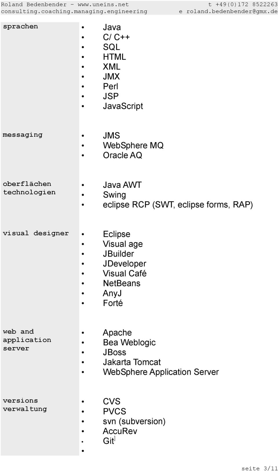 oberflächen technologien Java AWT Swing eclipse RCP (SWT, eclipse forms, RAP) visual designer Eclipse Visual age
