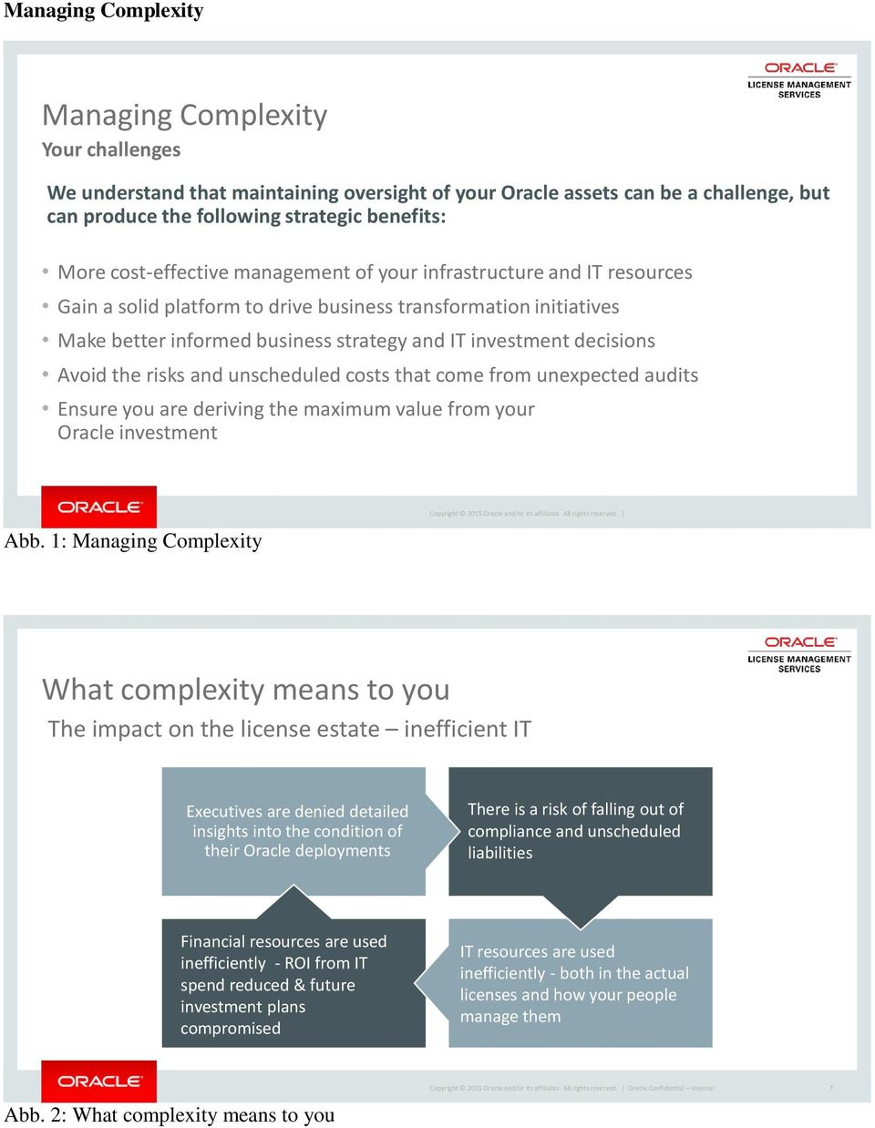 Avoid the risks and unscheduled costs that come from unexpected audits Ensure you are deriving the maximum value from your Oracle investment Abb.