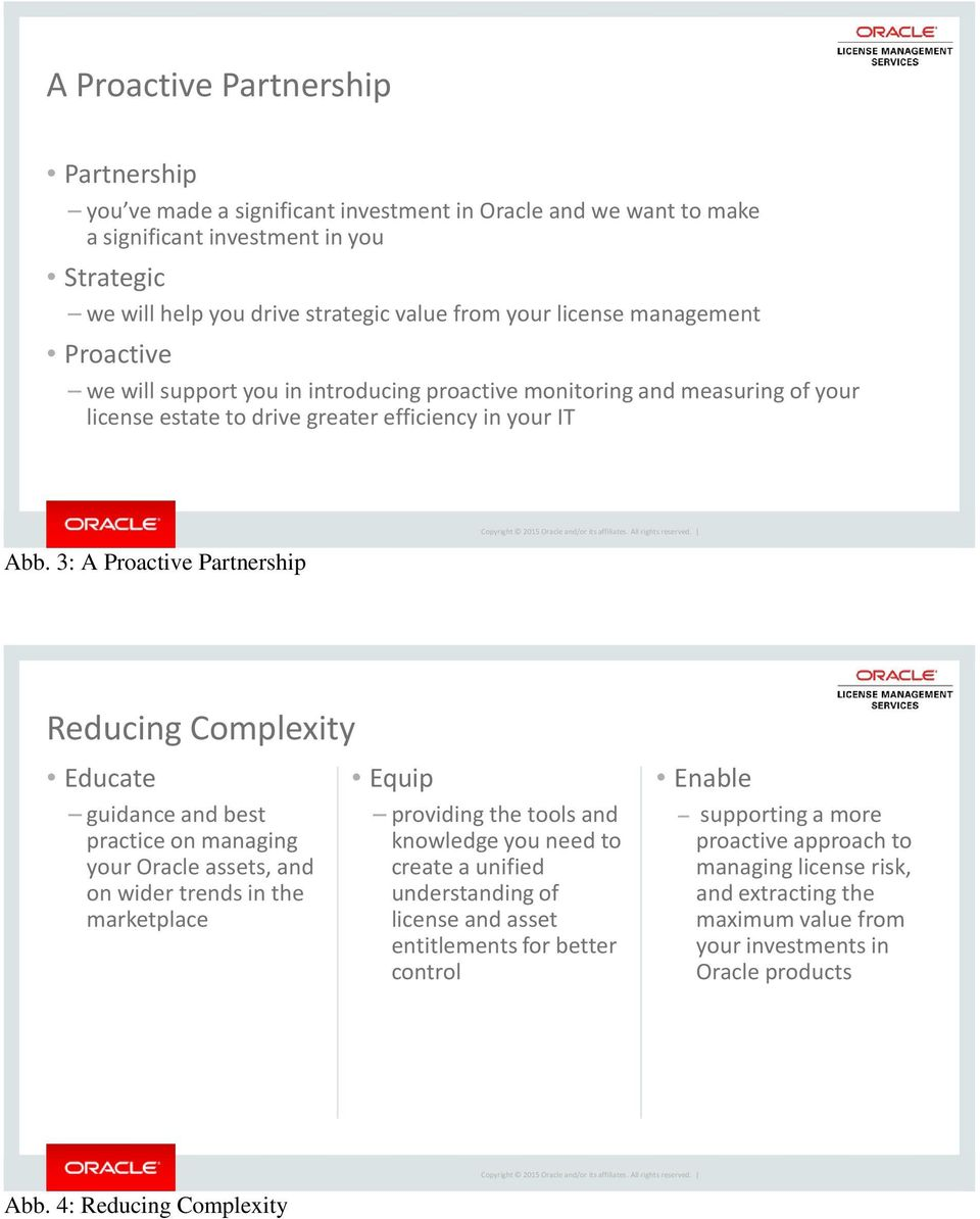 3: A Proactive Partnership Reducing Complexity Educate guidance and best practice on managing your Oracle assets, and on wider trends in the marketplace Equip providing the tools and knowledge you