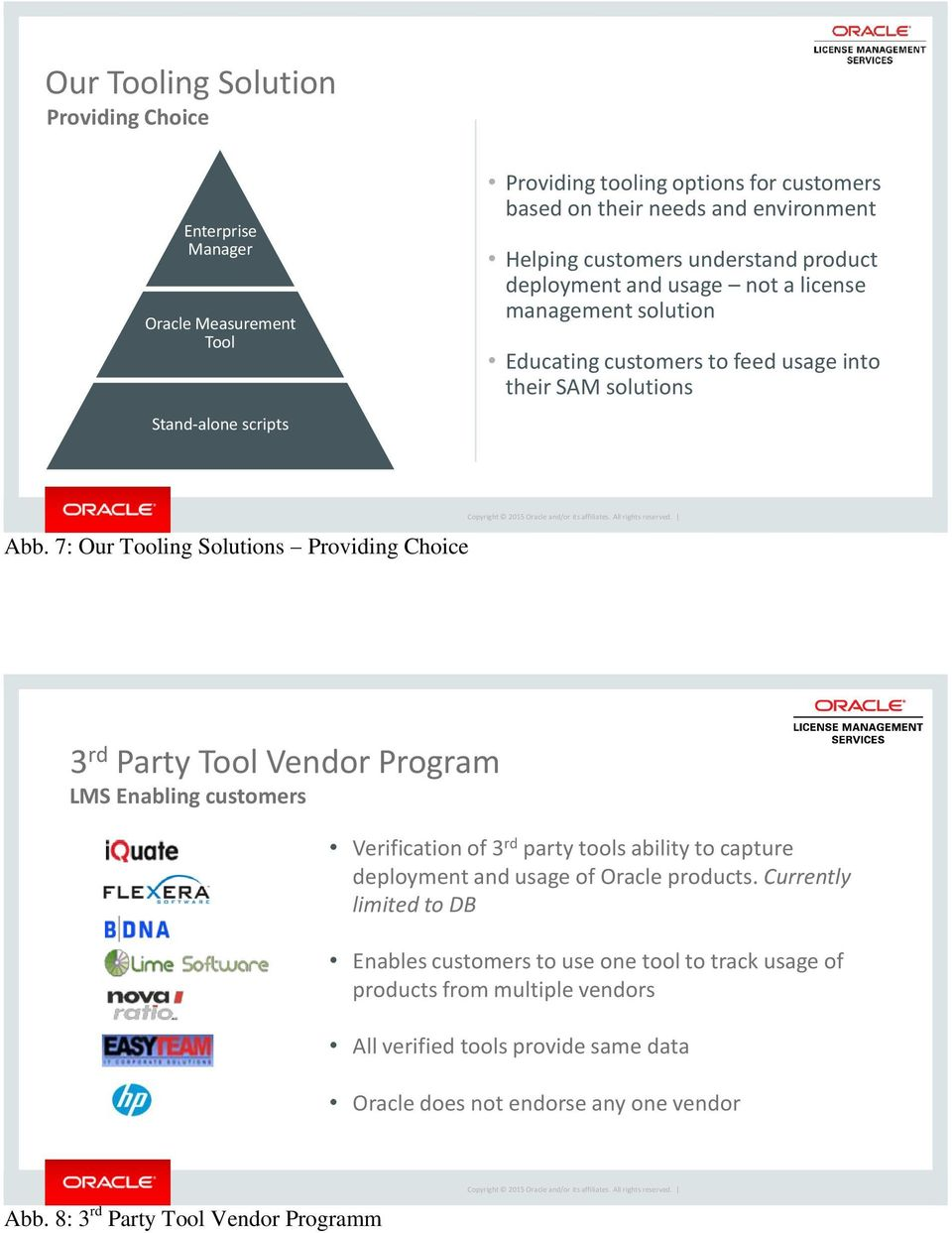 7: Our Tooling Solutions Providing Choice 3 rd Party Tool Vendor Program LMS Enabling customers Verification of 3 rd party tools ability to capture deployment and usage of Oracle