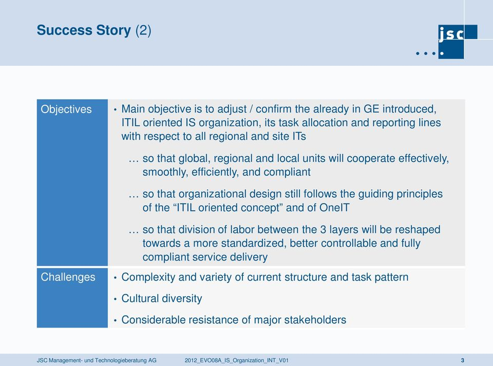 oriented concept and of OneIT so that division of labor between the 3 layers will be reshaped towards a more standardized, better controllable and fully compliant service delivery Challenges